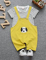 abordables -bébé Garçon Actif / Basique Rayé / Mosaïque Mosaïque Manches Courtes Normal Normal Coton Ensemble de Vêtements Beige