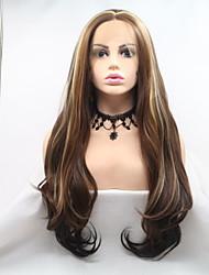 저렴한 -합성 레이스 프론트 가발 곱슬한 / 무광 스타일 레이어드 헤어컷 전면 레이스 가발 브라운 브라운 / 부르고뉴 인조 합성 헤어 24 인치 여성용 파티 / 여성 / 뜨거운 판매 브라운 가발 긴 Sylvia 130 % 인간의 머리카락 밀도 내츄럴 가발