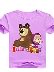 levne -Děti / Toddler Dívčí Základní Tisk Tisk Krátký rukáv Bavlna / Spandex Košilky Světlá růžová