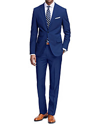 preiswerte -Hell Gray / Khaki / Königsblau Solide Schlanke Passform Polyester Anzug - Fallendes Revers Einreiher - 2 Knöpfe