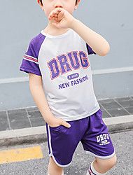 abordables -Enfants Garçon Basique / Chic de Rue Galaxie / Bloc de Couleur Mosaïque / Imprimé Manches Courtes Normal Normal Coton Ensemble de Vêtements Bleu