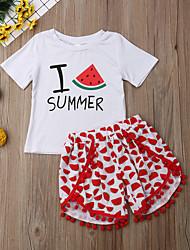 abordables -Enfants / Bébé Fille Actif / Basique Fruit Imprimé Manches Courtes Normal Coton Ensemble de Vêtements Blanc