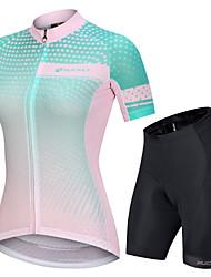 Недорогие -Nuckily Жен. С короткими рукавами Велокофты и велошорты Розовый + зеленый Градиент Велоспорт Наборы одежды Дышащий Виды спорта Полиэстер Спандекс Графика Горные велосипеды Шоссейные велосипеды Одежда