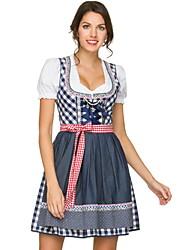 Недорогие -Октоберфест Широкая юбка в сборку Trachtenkleider Жен. Платье баварский Костюм Синий Красный