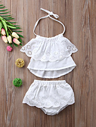 Недорогие -малыш Девочки Активный / Классический Однотонный Без рукавов Короткий Набор одежды Белый