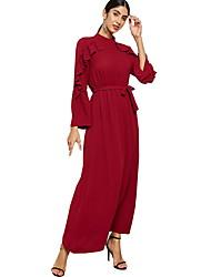 Χαμηλού Κόστους -Παραδοσιακή & Πολιτιστική Φορά Αμπάγια Γυναικεία Καθημερινά Ρούχα Πολυεστέρας Βολάν Μακρυμάνικο Φόρεμα