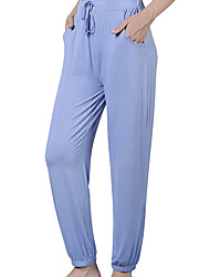 baratos -Mulheres Moda de Rua Chinos Calças - Sólido Patchwork Azul Marinha Cinzento Azul Claro M L XL