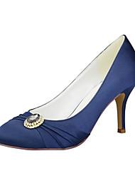 cheap -Women's Wedding Shoes Stiletto Heel Round Toe Rhinestone / Satin Flower / Sparkling Glitter Satin Sweet Spring &  Fall Dark Red / White / Blue