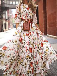 Недорогие -Жен. С летящей юбкой Платье - Цветочный принт, С принтом Макси