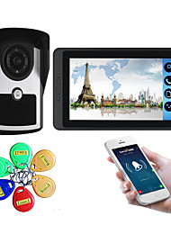 Недорогие -7-дюймовый емкостный сенсорный экран видеокамеры проводной видео дверной звонок Wi-Fi / 3G / 4G удаленного вызова разблокировки хранения визуальный домофон внешняя машина ID-карта функция один в один