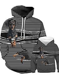 Недорогие -Папа и я Панк & Готика Полоски Животное Пэчворк Длинный рукав Обычный Обычная Худи / толстовка Черный