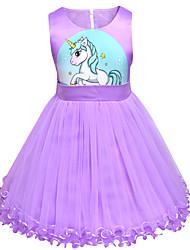 Недорогие -Дети Дети (1-4 лет) Девочки Активный Уличный стиль Unicorn Мультипликация Без рукавов Выше колена Платье Розовый