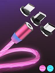 Недорогие -магнитный поток световой светодиодный зарядный USB-кабель для iphone xs max микро тип c зарядка a50 a70 шнур p30 быстрая зарядка магнита