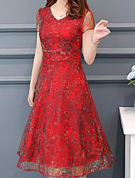 Недорогие -Жен. Элегантный стиль Оболочка Платье С принтом Средней длины