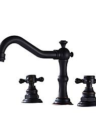 Недорогие -Ванная раковина кран - Широко распространенный Античная медь / черный Разбросанная Две ручки три отверстияBath Taps