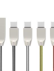 Недорогие -1,0 м (3 фута) тип-с USB-кабель плоский / быстрая зарядка USB-кабель из нержавеющей стали для Samsung Huawei Xiaomi Sony LOVE HTC Nokia Motorola LG и т. Д.