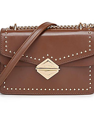 cheap -Women's Bags PU(Polyurethane) Crossbody Bag Rivet Solid Color Brown / Wine / Khaki