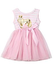 Недорогие -малыш Девочки Активный / Классический Пэчворк Бант / Сетка / Пэчворк Без рукавов Платье Розовый