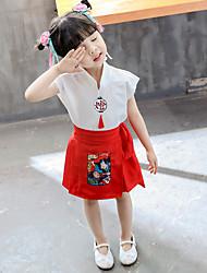 Недорогие -Из двух частей Короткое / мини Детское праздничное платье - Хлопок С короткими рукавами V-образный вырез с Вышивка от LAN TING Express