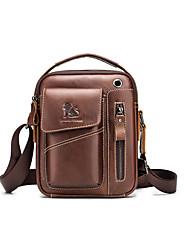 baratos -Laoshizi bolsa de couro dos homens um ombro saco de inclinação da cabeça camada de couro moda pequeno saco de pendurar moda masculina pequena mochila