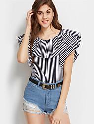 Χαμηλού Κόστους -Γυναικεία T-shirt Ριγέ / Συνδυασμός Χρωμάτων Patchwork Λευκό US2