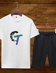 ราคาถูก -สำหรับผู้ชาย Tracksuit กีฬา ตัวอักษรและจำนวน ชุดออกกำลังกาย วิ่ง ชุดทำงาน ระบายอากาศ ผสมยางยืดไมโคร ปกติ