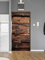 Недорогие -ретро дерево зерна кирпич двери наклейки декоративные водонепроницаемые наклейки на двери декор