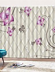 Недорогие -3d цифровая печать неоклассическая конфиденциальность две панели для штор шторы для ванной с фиолетовыми цветами