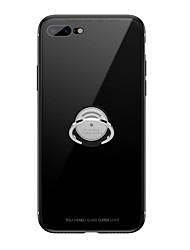 رخيصةأون -غطاء من أجل Apple iPhone XS Max / iPhone 6 حامل الخاتم غطاء خلفي لون سادة قاسي زجاج مقوى إلى iPhone XR / iPhone XS Max / iPhone X