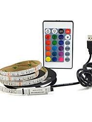 Недорогие -1м гибкие светодиодные полосы 60 светодиодов smd2835 9мм изменяющий цвет водонепроницаемый / тв фон 5 в 1 комплект
