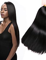 Недорогие -4 Связки Бразильские волосы Прямой 100% Remy Hair Weave Bundles Человека ткет Волосы Удлинитель Пучок волос 8-28 дюймовый Естественный цвет Ткет человеческих волос Без запаха Sexy Lady Лучшее качество