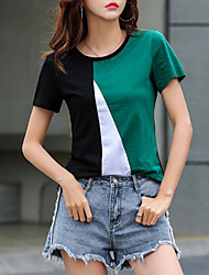 billige -Dame - Farveblok T-shirt Grøn US6