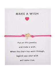 hesapli -Kadın's Tek Dizi El Yapımı Bağlantı Bilezik Aşk Umut Hindistan cevizi ağacı moda Bilezikler Mücevher Pembe / Açık Mavi / Kırmızı Şarap Uyumluluk Parti Günlük