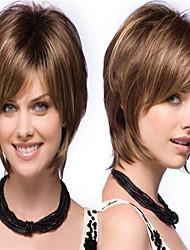 povoljno -Perike s ljudskom kosom Kinky Ravno Stil Srednji dio Capless Perika Smeđa Bronca Sintentička kosa 14 inch Žene Žene Smeđa Perika Dug Prirodna perika