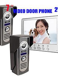 olcso -815m21 ultra-vékony 7 hüvelykes vezetékes videó ajtócsengő hd villa egy beltéri egység két kültéri egység videó kaputelefon kültéri egység éjjellátó eső kinyit funkció