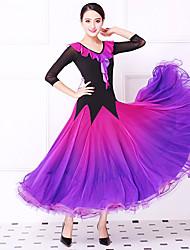 저렴한 -볼륨 댄스 드레스 여성용 트레이닝 / 성능 크리스탈 면 / 메쉬 / 라이크라 스플리트 조인트 3/4 길이 소매 내츄럴 드레스