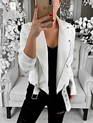 Недорогие -Жен. Повседневные Классический Обычная Кожаные куртки, Однотонный Рубашечный воротник Длинный рукав Полиэстер Белый / Черный