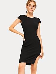 79b2caf74 abordables Vestidos de Mujer-camiseta de mujer por encima de la rodilla  vestido negro s m l