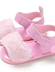 billige -Pige PU Sandaler Spædbørn (0-9m) / Toddler (9m-4ys) Første gåsko Sølv / Brun / Lys pink Sommer
