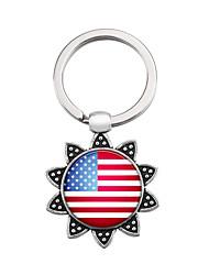 Недорогие -Брелок Флаг американский флаг европейский Модные кольца Бижутерия Серебряный Назначение Подарок фестиваль