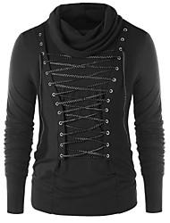 Недорогие -Муж. Однотонный Длинный рукав Пуловер, Круглый вырез Осень Черный L / XL / XXL