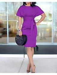 Недорогие -Жен. Элегантный стиль Оболочка Платье - Однотонный, Чистый цвет До колена / Сексуальные платья