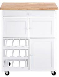 Недорогие -передвижная кухонная островная тележка с винным шкафом белого цвета