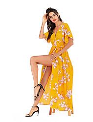 Недорогие -Жен. Изысканный Элегантный стиль А-силуэт Шифон Платье - Цветочный принт, Сетка С разрезами Кулиска Макси