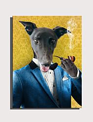 Недорогие -e-home натянутый холст арт милая серия животных - труба джентльмен собака украшения живопись один шт
