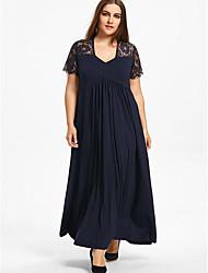 Недорогие -Жен. Большие размеры С летящей юбкой Платье V-образный вырез Макси