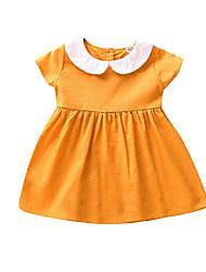 Недорогие -малыш Девочки Активный / Классический Пэчворк С короткими рукавами Платье Желтый