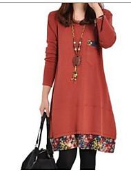 preiswerte -Damen Solide - Grundlegend Hemd Jeansstoff Rote US2