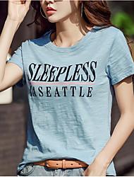 preiswerte -Damen Solide / Buchstabe T-shirt Weiß US8