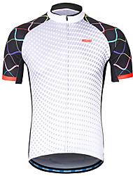 Недорогие -Arsuxeo Муж. С короткими рукавами Велокофты Белый Сплошной цвет Велоспорт Джерси Со светоотражающими полосками Впитывает пот и влагу Виды спорта 100% полиэстер Горные велосипеды Шоссейные велосипеды
